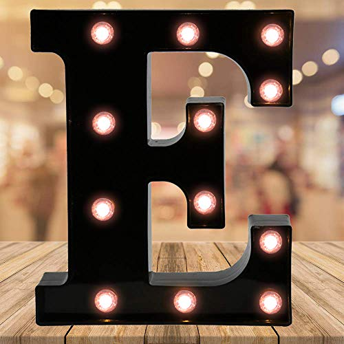 Oycbuzo Light up Letters LED Letter Black Alphabet Letter Night Lights for Home Bar Festival Birthday Party Wedding Decorative (Black Letter E) (Metal Letters Lighted)