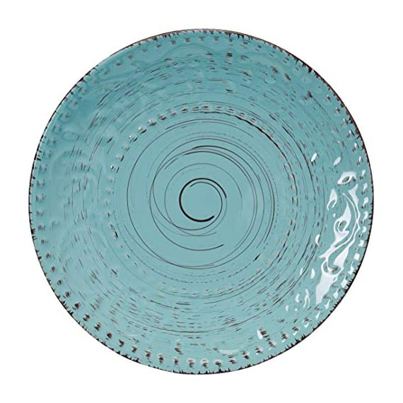 Elama Embossed Stoneware Ocean Dinnerware Dish Set, 16 Piece, Turquoise - ◈A STUNNING ACCENT TO YOUR TABLE◈ The Elama Malibu Waves 16 Piece Round Stoneware Dinnerware Set in Turquoise ◈BEAUTIFULLY COLORED◈ In Tropical Turquoise, this tableware set will surely set a tone at dinner time ◈A FULL SERVICE FOR 4◈ Each dish is creatively crafted into a unique and contemporary shape, adding a little something more special to meal time - kitchen-tabletop, kitchen-dining-room, dinnerware-sets - 51cKYBDkIFL. SS570  -