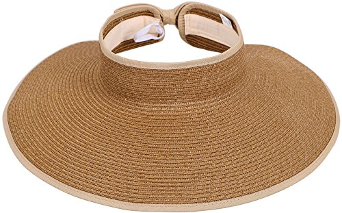 Women Summer Wide Brim Summer Roll Up Foldable Sun Visor Beach Straw - Straw Protection
