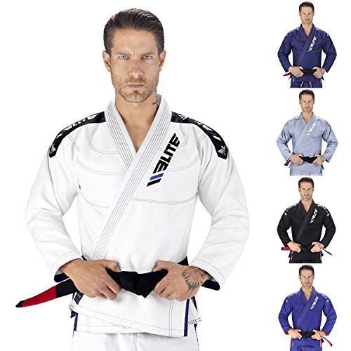 Elite Sports NEW ITEM IBJJF Ultra Light BJJ Brazilian Jiu Jitsu Gi w/ Preshrunk Fabric & Free Belt (White, A1)