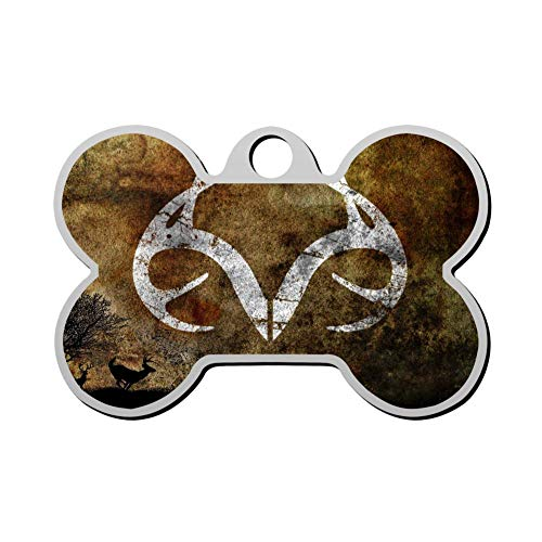 Mhmkrot Top-Camo-Browning Logo Dog Tag Pet ID Tags Cat Tags Bone Shaped Zinc Alloy Identity Pendant Trendy Funny Double Sided Printed - DIY Custom