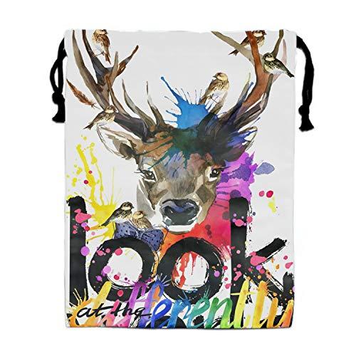 Deer Look At The World Party Drawstring Backpacks Waterproof Tote Bags -