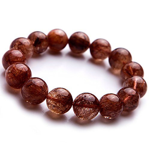 - LiZiFang 14mm Brazil Natural Copper Rutilated Quartz Crystal Round Bead Bracelet Women