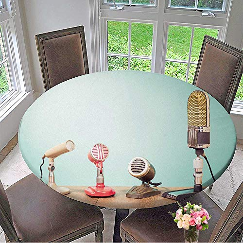 Round Tablecloths Retro Mass Media Microphones for Broadcasting or Recording Front Mint Green Wall Background or Everyday Dinner, Parties 47.5