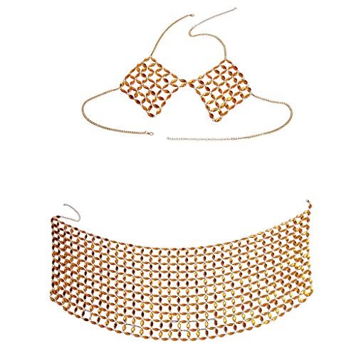 vmree Women Girls Nightclub Party Body Chain Acrylic Crystal Alloy Chain Bikini Bra Hip Skirt Beach Outfit Top & Bottom Slave Necklace Jewelry Gift (Gold)