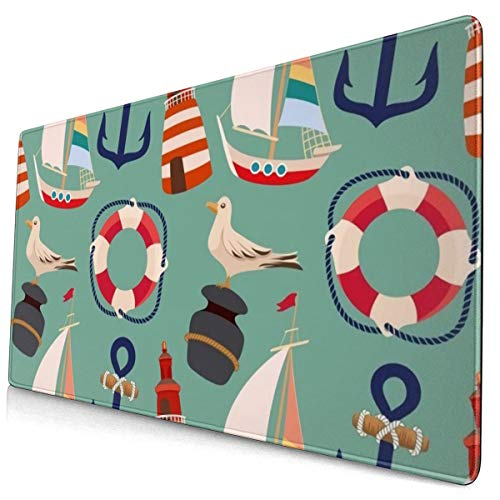 Cartoon Boat Anchor Sailing Pigeon Gaming Mouse Pad Decorative Custom Mouse Mat Mouse Pads for Laptop PC Computers Keyboard