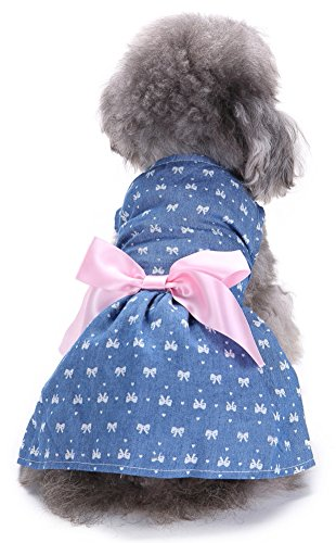MaruPet Puppy Elegant Denim Ribbon Sundress Bowknit Printed for Small, Extra Small Teddy, Pug, Chihuahua, Shih Tzu, Yorkshire Terriers, Papillon Light Blue S