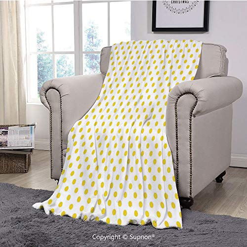 BeeMeng Premium Throw Blanket/Super Soft,Cozy,Lightweight Microfiber,Yellow Decor,Picnic Like Cute 50s 60s 70s Themed Yellow Spotted White Pattern Print,Yellow and White(71