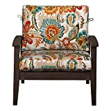 Outdoor Patio Deep Seat Relaxed Chair Cushion Set Seasonal Replacement Cushions 17''x24''x4-1/2'' back; 24''x24''x4-1/2'' seat, 27 Prints/Colors (Red Teal Orange Plume)