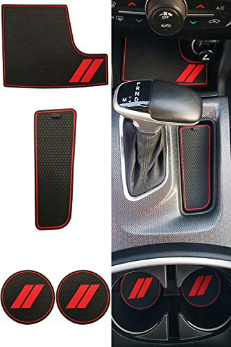 REVION Autoworks Custom Fit for 2015-2019 Dodge Charger Cup Holder Insert & Center Console Shifter Liner Trim Mats | 4pc Custom Fit Non Slip Storage Bin Mat Set | Charger Interior Accessories