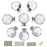 Cupboard Doors BTSKY 8 Pcs Round Diamond 40mm1.57inches Clear Glass Crystal Cabinet Knobs--Cupboard Door Knobs/ Crystal Drawer Pull Handles/Glass Dresser Knobs With 3 kinds of Screws