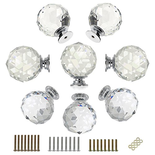 BTSKY 8 Pcs Round Diamond 40mm(1.6 inches) Clear Glass Crystal Cabinet Knobs--Cupboard Door Knobs/ Crystal Drawer Pull Handles/Glass Dresser Knobs With 3 kinds of Screws (Round Glass Knobs Pull)