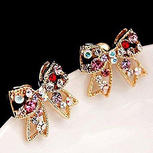 (Ear Bowknot Hot Sale Stud Bowknot Earrings Women Crystal Fashion Jewelry)