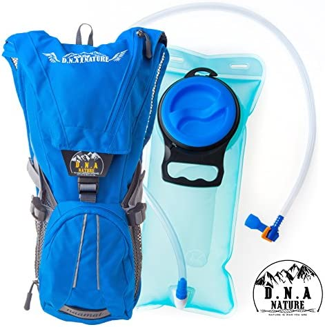 Hydration Backpack Pack With 2L Water Bladder For Men,Women,Kids,Perfect For Outdoor Daypack,Sport,Running,Hiking,Cycling,Skiing,Biking,Camping Lightweight bag Waist Straps,Waterproof BPA FREE,Blue