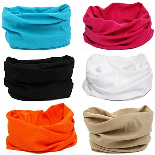 Multi Scarf - SmilerSmile 6pcs Assorted Seamless Outdoor Sport Bandanna Headwrap Scarf Wrap, 12 in 1 High Elastic Magic Headband & Collars Muffler Scarf Face Mask with UV Resistance,(Solid Color 8)