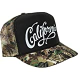 California Republic Beach Script Camo Snapback Hat Curved Bill - Black Crown