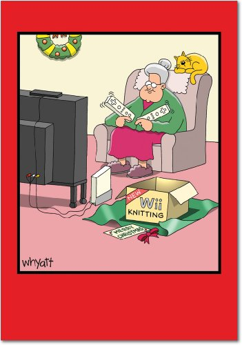 12 'Wii' Boxed Christmas Cards with Envelopes (4.75 x 6.625 Inch), Old Lady Knitting with Electronics Christmas Notes, Funny Cartoon Holiday Cards, Unique Christmas Stationary B1663 (Best Electronic Christmas Cards)