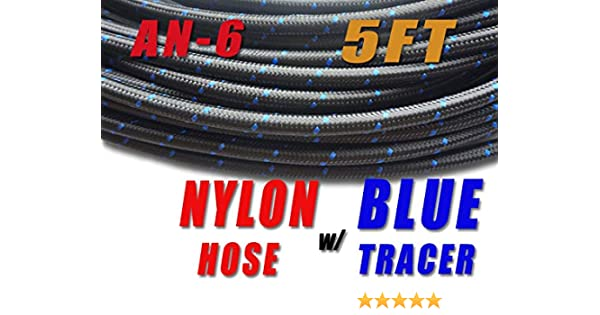 1 Foot AN6 Nylon and Stainles Steel Braided Fuel Oil Gas Line Hose 6AN Black