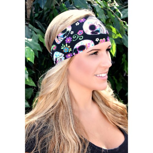 RAVEbandz Fashion Stretch Headbands (SUGAR SKULLS) - Non-Slip Sports & Fitness Hair Bands for Women and Girls