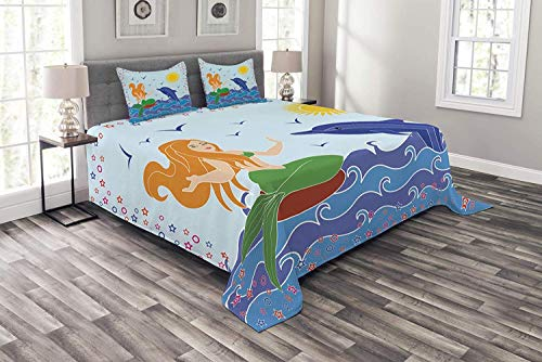 Lohebhuic Underwater Coverlet Set King Size, Dolphin and Mermaid Girl on The Sea Blue Waves Colorful Summer Time Drawing, Decorative Quilted 3 Piece Bedspread Set with 2 Pillow Shams, ()