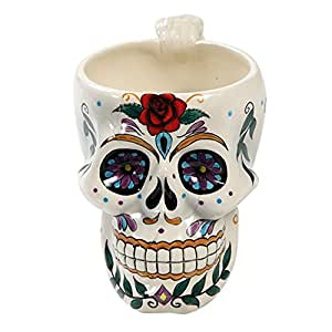 Amazon White Day of the Dead Red Rose Sugar Skull Drink Coffee