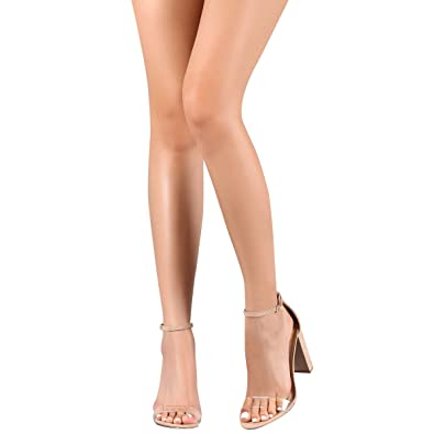 1e809dffad Amazon.com | Wild Diva Womens Open Toe Clear PVC Chunky High Heel Ankle  Strap Sandal Pump Shoes | Heeled Sandals