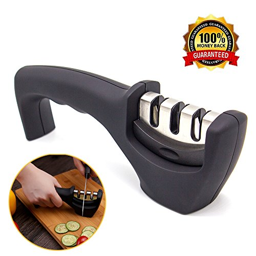 Knife Sharpener, SunHo Kitchen 3 Stage Knife Sharpening Tool Helps Repair, Restore and Polish Blade, Black