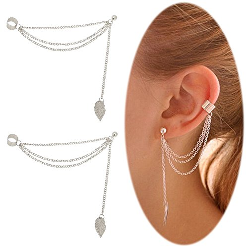 Leaf Tassel Ear Crawler Earring Climber Multi Layered Studs Cuffs Ear Wrap Pin Vine Charm Clip On Jewelry Leaf Silver ()