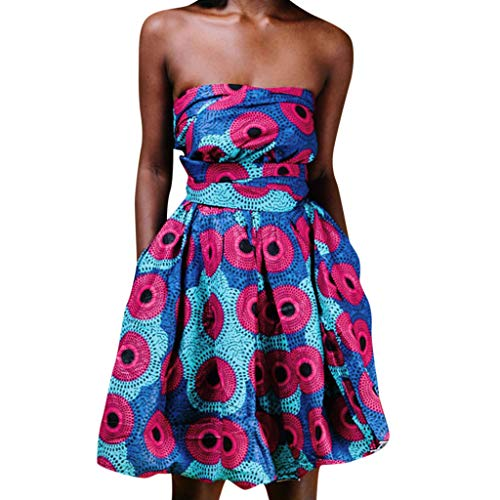 Goddessvan Women's African Vintage 1950s Floral Printed V Neck Sleeveless Skirt Casual Evening Party Swing Bandage Dress Hot Pink