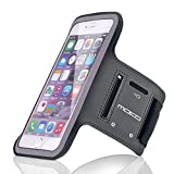 """iPhone 6s Plus / iPhone 6 Plus Armband, MoKo Sweatproof Sports Armband Workout Running Arm Band for iPhone 6S Plus, 6 Plus, Galaxy Note4, J7, Honor 5X, BLU 5.5, Black (Fits Arm Girth 10.8""""-16.5"""")"""