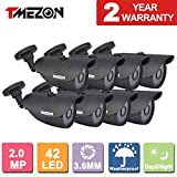 TMEZON 8 Pack 2.0MP CMOS Sensor 1080P AHD/960H Over Analog Weatherproof 42 IR Wide Angle Lens Camera with OSD