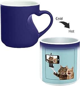 Magic Mug with inner heart handle For Coffee or tea By decalac, mugHM-BLU-03030