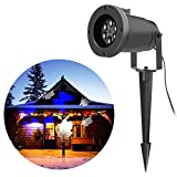 Christmas Projection Lights - VOLADOR Moving Butterfly LED Garden Projector Light - Outdoor Decoration Spotlight - Home Wall Tree Christmas Holiday Decorative Lights (White and Blue)