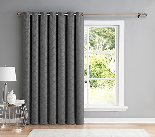 Door Panel Drapes (HLC.ME Redmont Lattice Extra Wide-Width Thermal Blackout Grommet Patio Door Curtain for Sliding Glass Door- 102