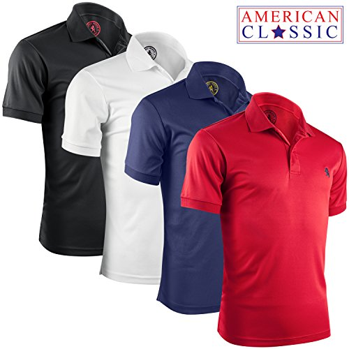 Sleeve Polo Shirts for Men - 4 Pack, American Classic, Large ()