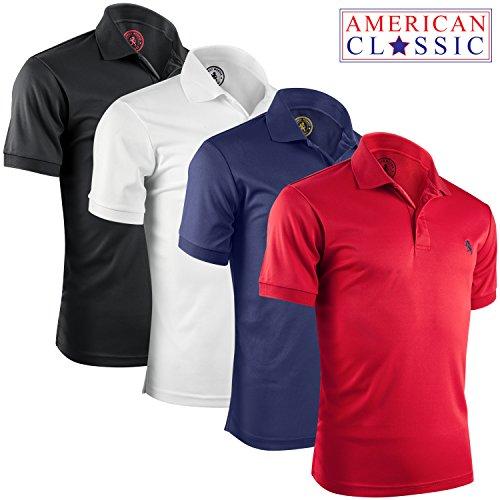 Albert Morris Short Sleeve Polo Shirts for Men - 4 Pack, American Classic, Large