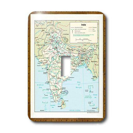 3dRose lsp_130358_1 Modern Map Of India Showing Cities.Jpg Single Toggle Switch