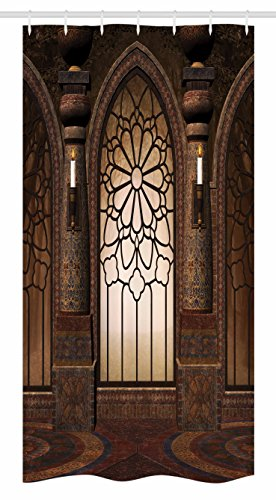 Ambesonne Gothic Stall Shower Curtain, Antique Myst Gate with Oriental Islamic Pattern and Curvings Artistic Design Illustration, Fabric Bathroom Decor Set with Hooks, 36 W x 72 L inches, Brown by Ambesonne
