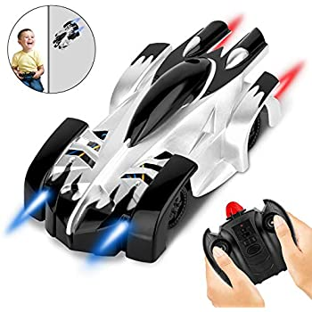 AOKESI Remote Control Car, Wall Climbing Car with 360°Rotating Stunt for Kids, RC Toy Cars with USB Rechargeable High Speed Car, RC Air Car with Powerful LED Lights, Ideal Kids Gift for Boys Girls