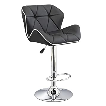 Attractive Spyder Contemporary Adjustable Barstool   Black W/White Piping