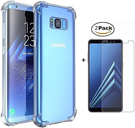 MISSDU Compatible con Funda Samsung Galaxy S8 Plus/S8+ Funda y Protector de Pantalla *2, Transparente Silicona TPU Fundas Crystal Shell Case Panel Trasero Transparente y Esquinas reforzadas: Amazon.es: Electrónica