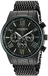 Akribos XXIV Men's Swiss Quartz Multi-Function Black Sunray Dial on Black Shark Mesh Stainless Steel Bracelet Watch AK919BK