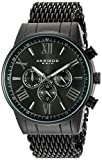 Akribos XXIV Men's Swiss Quartz Multi-Function Black Sunray Dial on Black Shark Mesh Stainless Steel Bracelet Watch AK919BK
