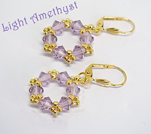 Genuine Swarovski Crystal Hoop Earrings - Light Amethyst (21 colors)