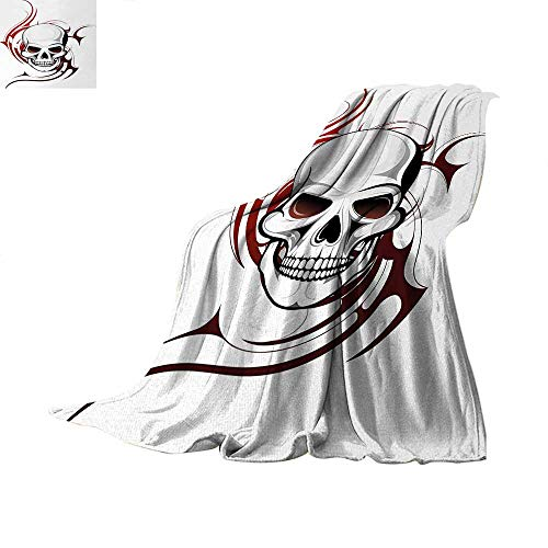 Tribal Flame Designs - Anhuthree Tattoo Super Soft Lightweight Blanket Scary Fierce and Wild Skull with Red Flames Tribal Artistic Tattoo Image Design Summer Quilt Comforter 90