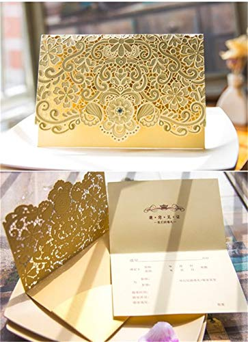 Invitation Card, 25 PCS Laser Cut Golden Floral Design with Drill for Wedding Bridal Shower Engagement Birthday Graduation Invitation Cards (Gold Glitter)