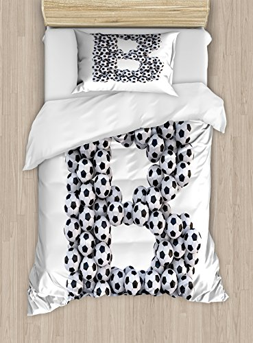 Ambesonne Letter B Twin Size Duvet Cover Set, Soccer Themed Letter Monochrome Classical Balls Pattern Sports Themed Design, Decorative 2 Piece Bedding Set with 1 Pillow Sham, Black and White by Ambesonne