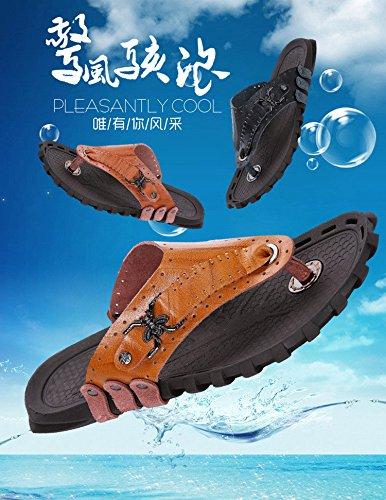 Man Drachen Männer Singles Strand Sandalen Sandalen Sommer Sandalen Pantoffeln Männer Männer Sandalen. Braun .UK = 8.UR = 42
