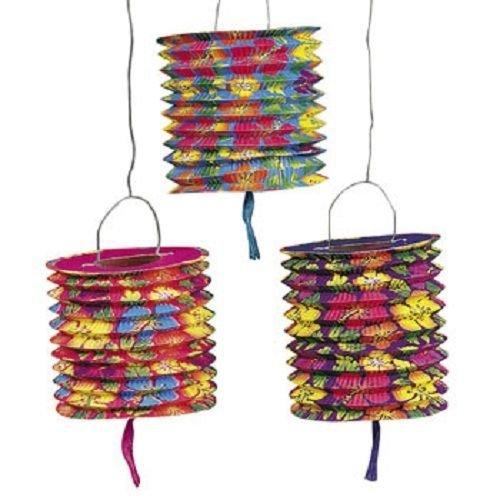 (Set of 12 Paper Hawaiian Luau Hibiscus Lanterns Hanging Party)