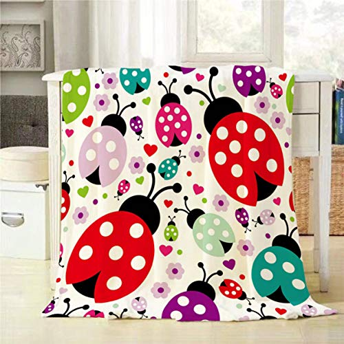 (Mugod Ladybug Throw Blanket Seamless Kids Lady Bug Polka Dot Hearts Flowers Pattern Decorative Soft Warm Cozy Flannel Plush Throws Blankets for Bedding Sofa Couch 50 X 60 Inch)